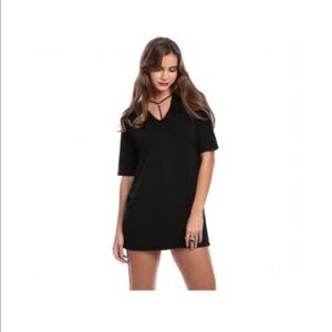 Missguided harness strap T-shirt dress in black